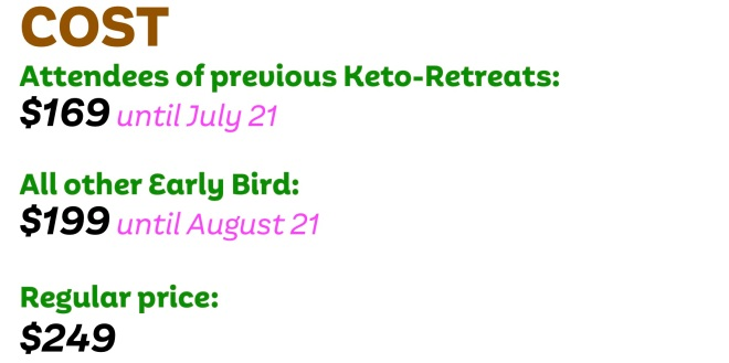 Keto Retreat Costs, Previous Attendees, Early Bird and Regular Prices